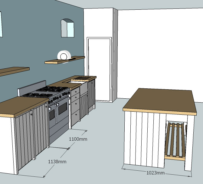 CAD 3D drawing custom made kitchen