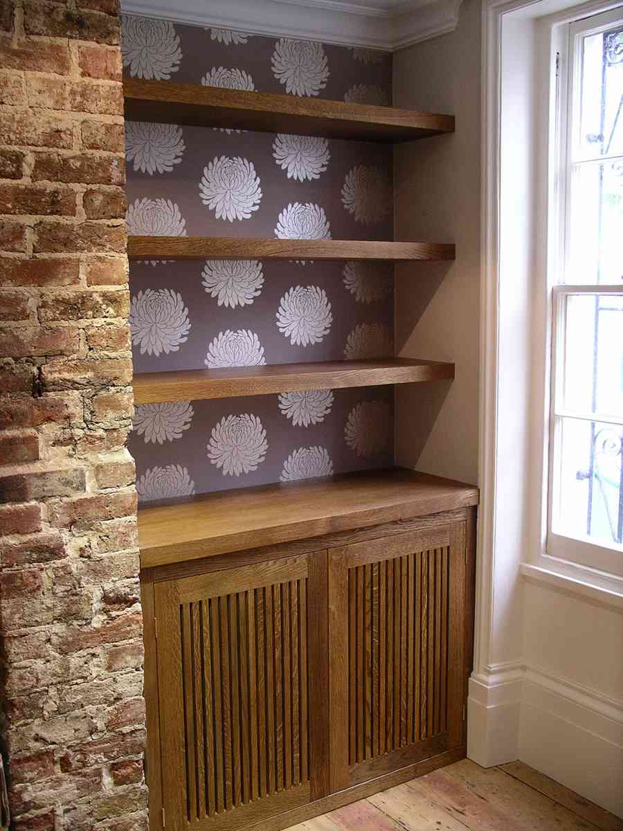 Audio Cabinet And Floating Shelves In Solid Oak