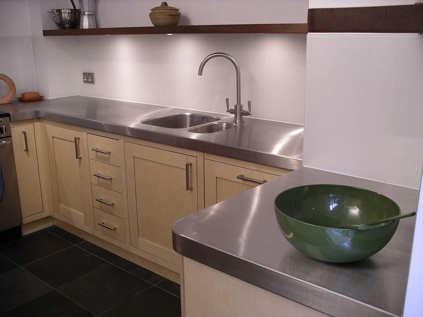 Custom Built Birch Ply And Stainless Steel Kitchen By
