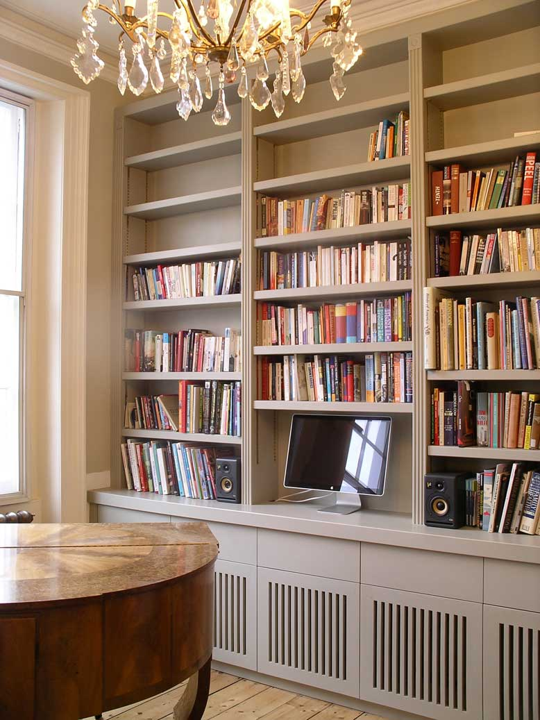 custom built music room bookcase and equipment storage cabinets by Peter Henderson Furniture ...