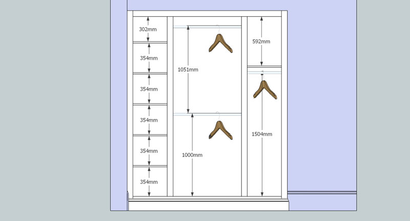 interior design drawing in 2D for fitted handmade cupboard