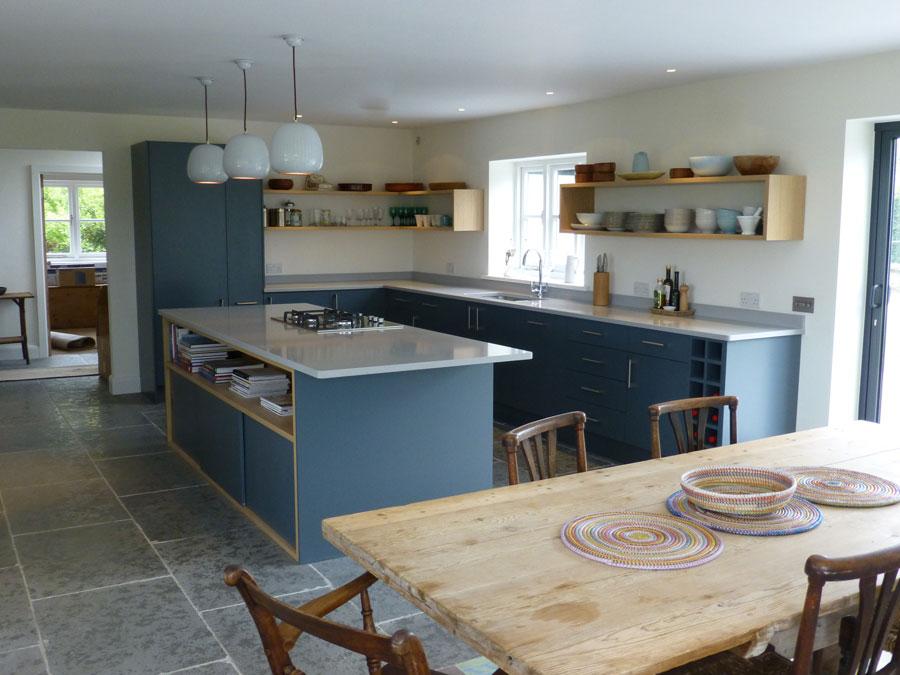 Slate Gray And Oak Bespoke Kitchen By Peter Henderson