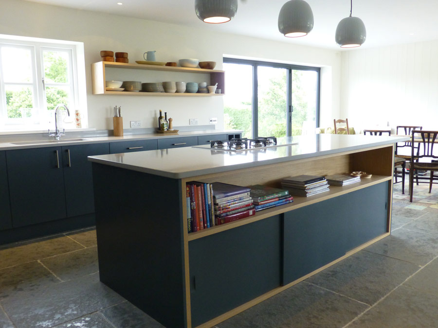 Slate gray and oak bespoke kitchen by Peter Henderson Furniture ...