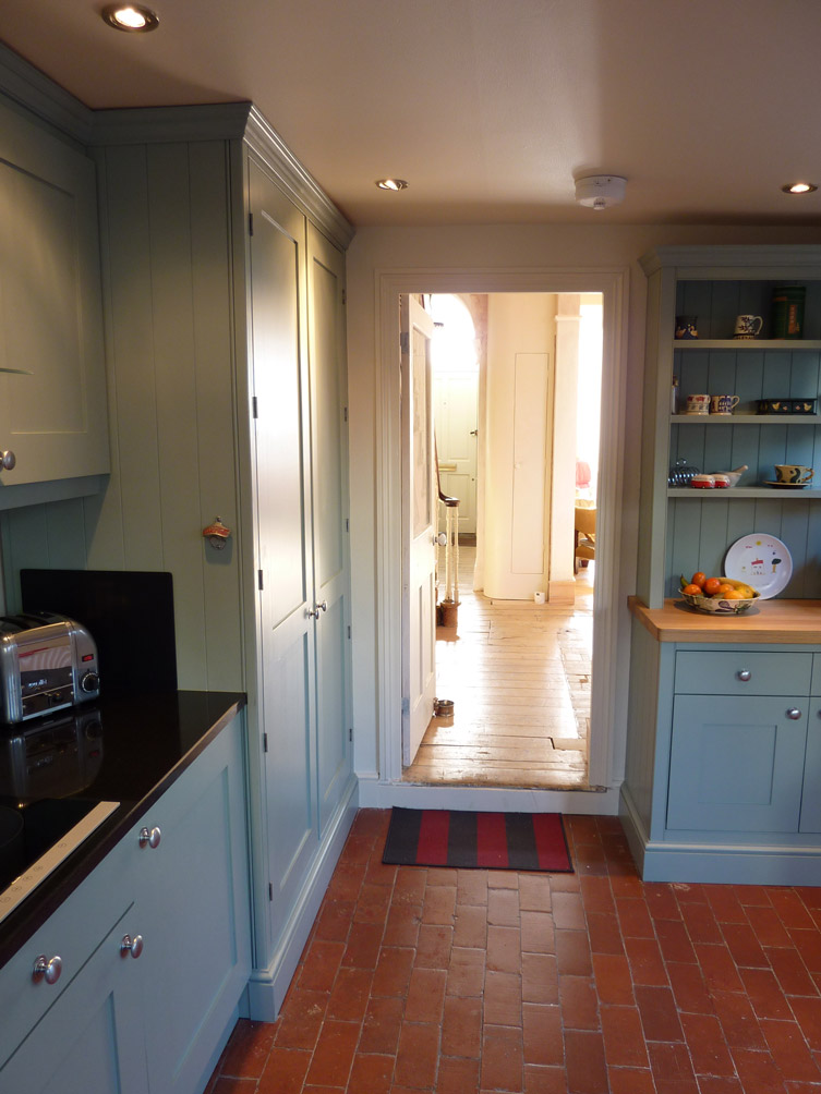 hand painted shaker style kitchen in Farrow & Ball blue-grey