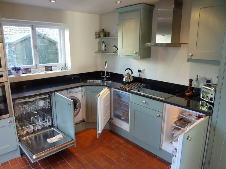 blue-grey painted kitchen by Peter Henderson Furniture, Brighton, UK