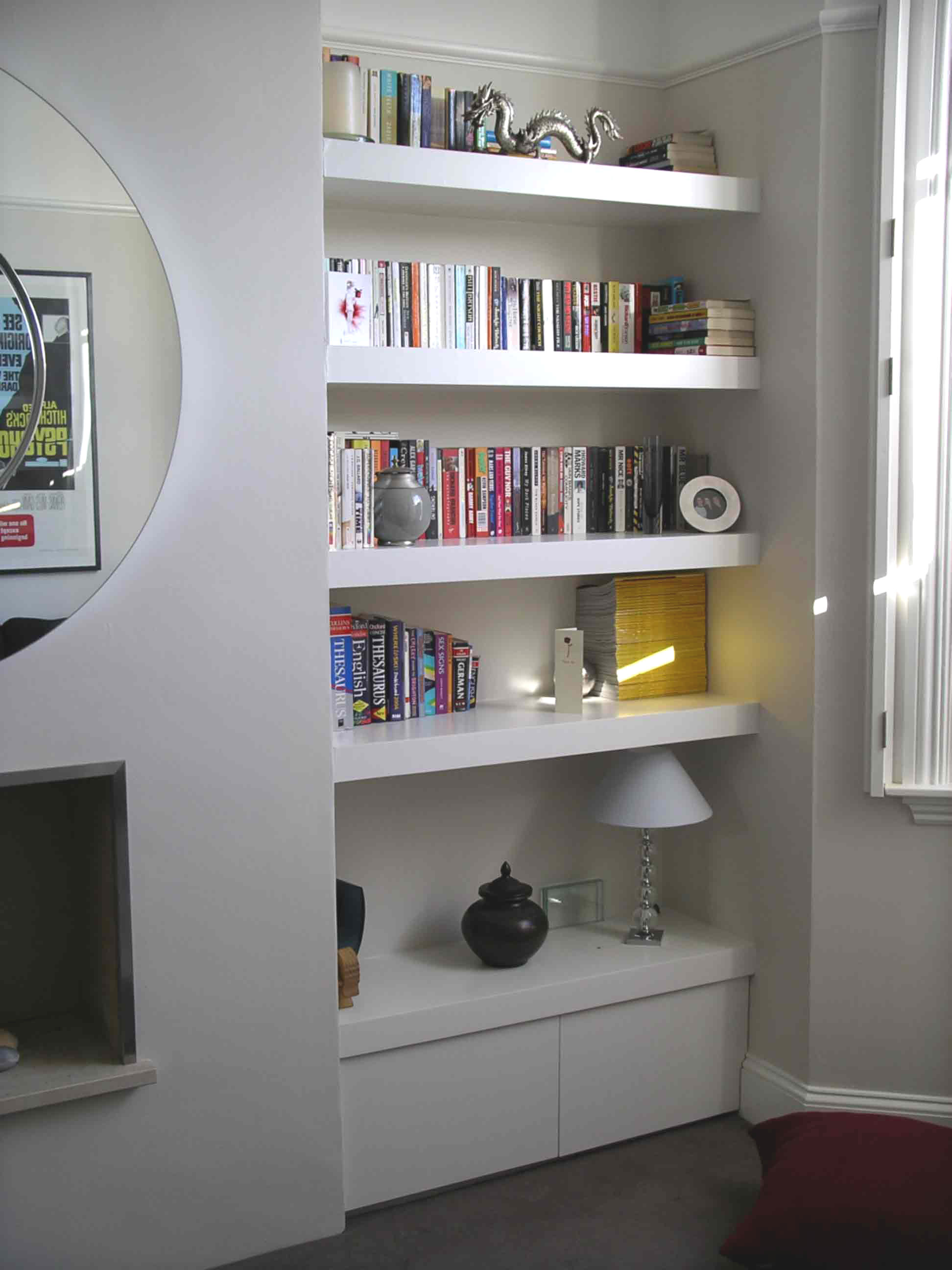 in home storage cabinets cabinet book concealed cute pin shelf built corner