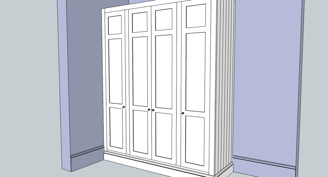 £d drawing of bespoke wardrobe exterior