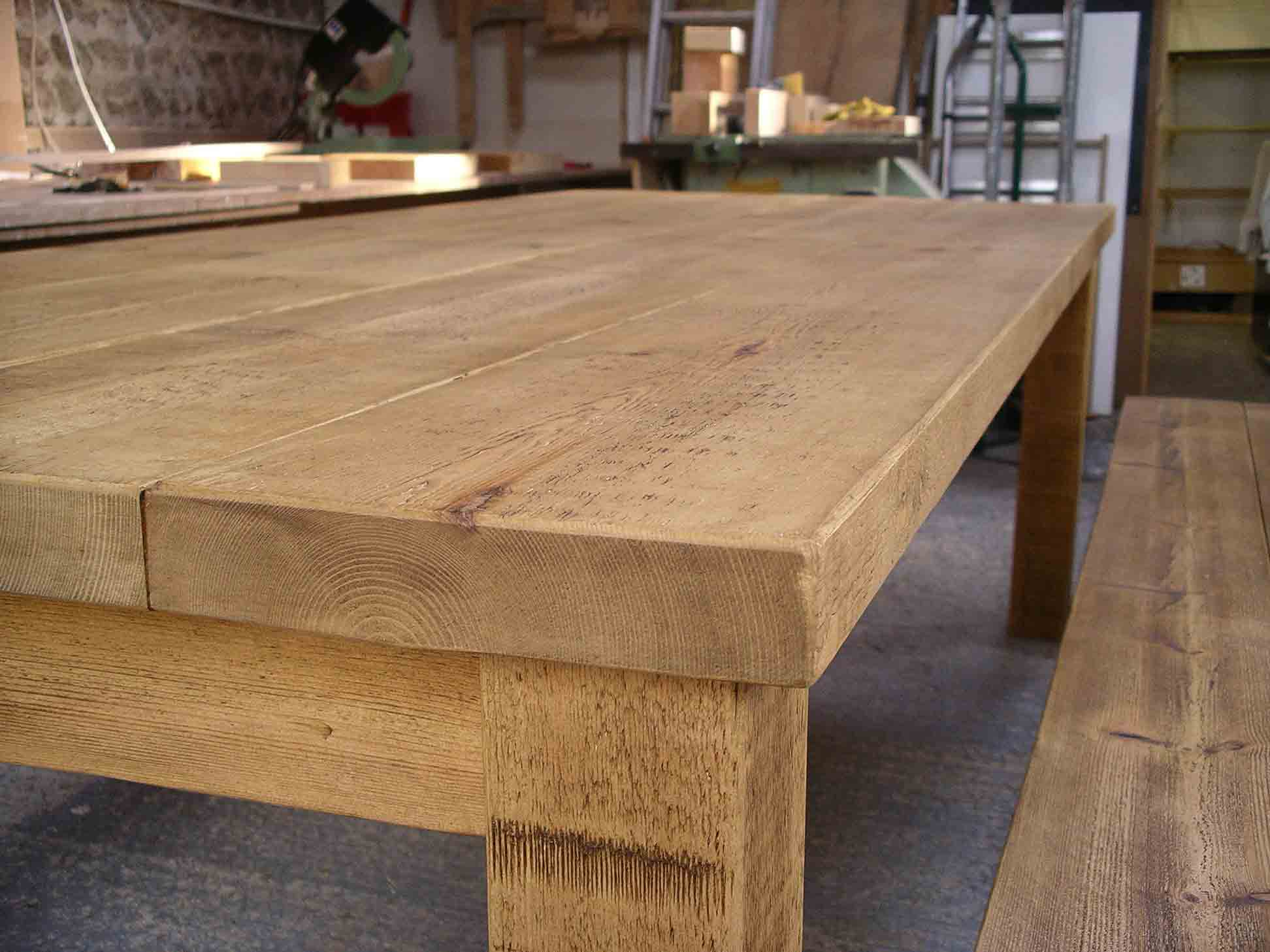 rustic plank table with wax finish