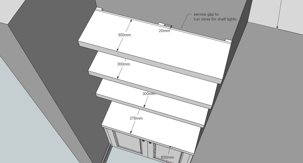 design drawing for cable access for recessed lighting in shelves