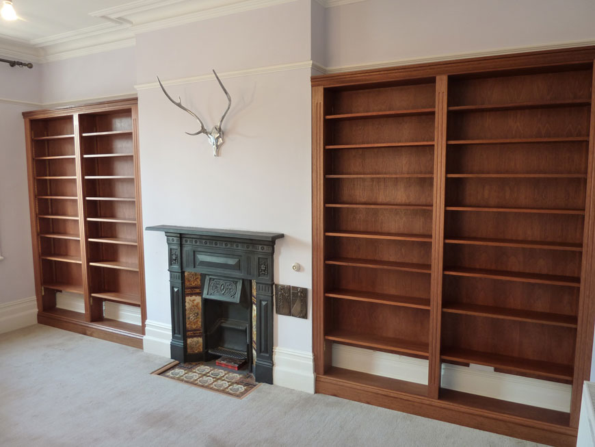 bespoke fitted mahogany and sapele bookcases - Mahogany Bookshelves