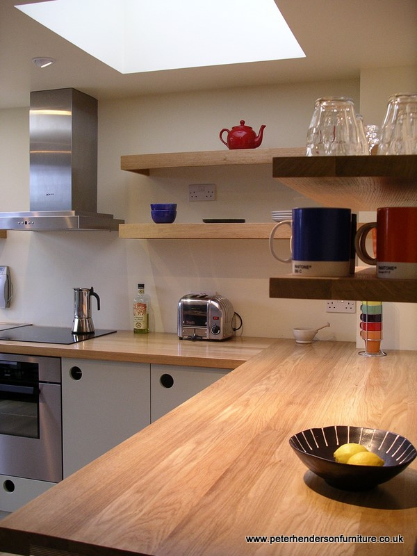 oak and french grey kitchen bespoke design by Peter ...