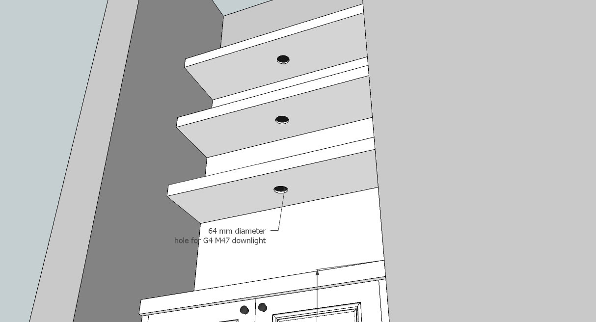 recessed downlights in shelf design drawing by Peter Henderson