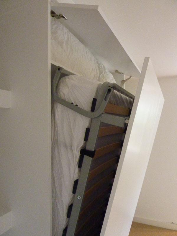 hideaway bed in custom made cabinet