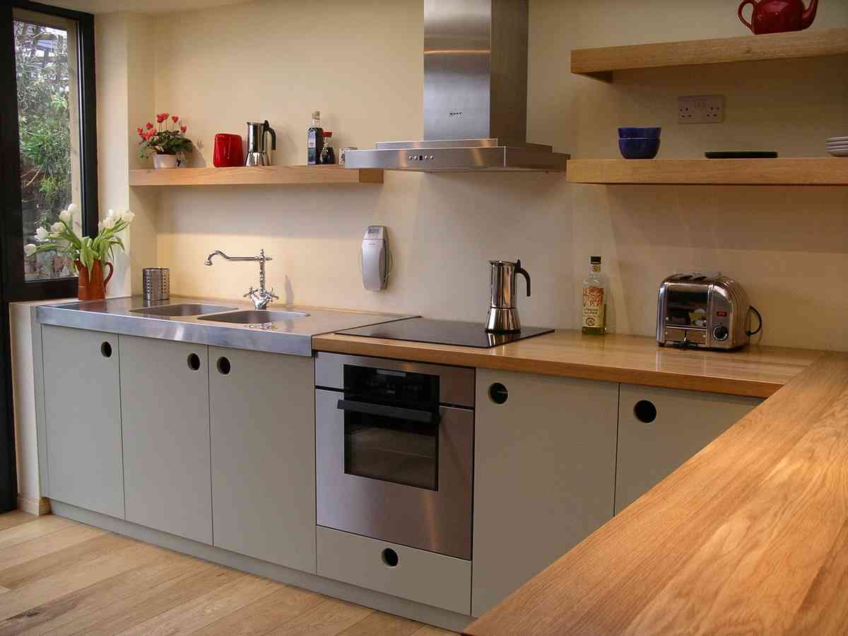 contemporary handmade fitted kitchen in oak and french grey