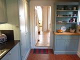 handmade painted kitchen in Farow & Ball blue-gray