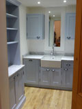 carrera marble worktops and parma gray painted kitchen